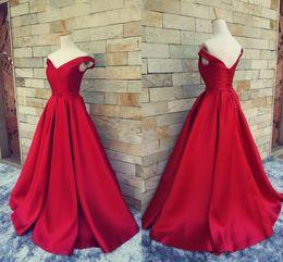 $enCountryForm.capitalKeyWord NZ - 2019 Simple Dark Red Evening Dresses V Neck Off The Shoulder Ruched Satin Custom Made Backless Corset Prom Gowns Formal Dresses Real Image