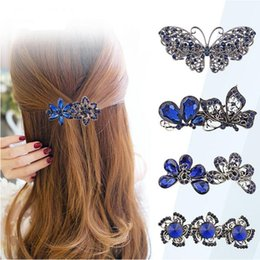 flower girl rhinestone hair clips Australia - Women Fashion Crystal Rhinestone Flower Hair Pin Ladies Girls Metals Barrette Butterfly Hair Clip Hair Accessories