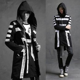Discount trench coat men punk Wholesale- Autumn winter men fashion striped long trench coat windbreaker mens harajuku punk rock hooded jackets overcoat casaco masculino