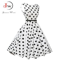 China Ladies Summer Casual Dress Women 2017 Polka Dot Retro Swing Gown Pin up Robe Vintage 60s 50s Rockabilly Dresses Plus Size WQ0974 suppliers