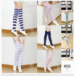 $enCountryForm.capitalKeyWord NZ - Striped Knee High Socks for Girls Adult Japanese Style Zebra Thigh High sycling Socks Sweet Spring Summer Stockings Christmas Halloween