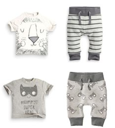 EuropEan childrEn s clothing online shopping - Insured summer home baby cotton baby lion face short sleeve T shirt pants children s clothing color