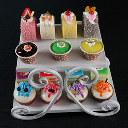 2 Tiers White Cupcake Iron Cake Stand Birthday Party Hotel Decoration Wedding Towers Dressert Tray