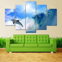$enCountryForm.capitalKeyWord NZ - 5 Pieces HD printed art paintings on Canvas Waves and whale Seascape pictures for Home wall hanging Hot sale