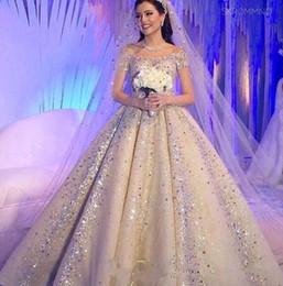$enCountryForm.capitalKeyWord Canada - Princess Luxury A Line Wedding Dresses Off Shoulder Short Sleeves Beading Plus Size Bridal Gowns For Church Wedding Custom Made 2018 Cheap