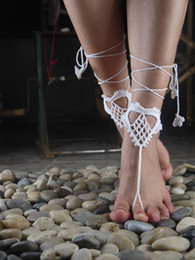 Wholesale Heart shape Crochet Barefoot Sandals Hand Anklet Barefoot Sandles Foot jewelry Steampunk Victorian Lace white