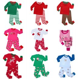 Vêtements De Nuit Pour Filles Pas Cher-New Automne à manches longues Pyjamas enfants Garçons Filles Noël Rouge Stripes Pyjamas Enfants Winter Sleepwear Nightwear Sets