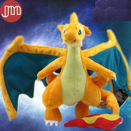 Figures Australia - New Center Mega Charizard Rare Figure Plush Stuffed Animal Doll Anime Cartoon Baby Toy Gift Approx 23cm 9""