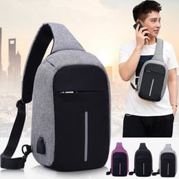 Discount laptop children - Anti-theft Laptop Notebook Backpack With USB Charging Port Children Women Men One Shoulder Bag Business Chest Pack 3 Col