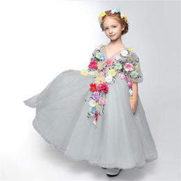 $enCountryForm.capitalKeyWord UK - Cute Beautiful Grey Cinderella Princess Dresses Tiers Tulle Flower Girls Dresses 2017 Fairy Toddler Full Length Children Festivals Gift