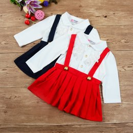 Organic Cotton Lace Wholesale NZ - 2017 spring and autumn children's clothing children's young cotton long-sleeved doll collar lace edge strap dress skirt