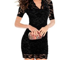 white lace bodycon midi dress 2019 - Sexy Lace Dress Women Deep V Pencil Bodycon Dress Party Dresses Short Sleeve Bag Hip Stretch Mini Dress Female Vestidos