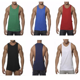Barato E Coleiras De Volta-New Cotton Men's Fitness Gym Tank Tops Stringer Bodybuilding Equipment camisa Solid Singlet Y Voltar Roupa desportiva Vest WX-F05