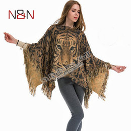 Loose crochet shawL online shopping - New European Woman Poncho Sweater Woman Animal Print Loose Top Cardigans Crochet Knitting Poncho Shawl