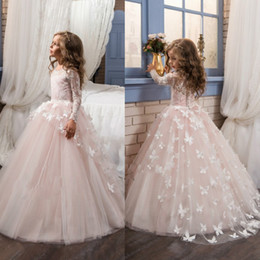Enfants Jolies Robes Dentelle Pas Cher-Pretty Light Rose Kids First Communication Robe Tutu Gown Pour Junior Girls Mariage Décoration Lace Long Manches Fille Fille Robe