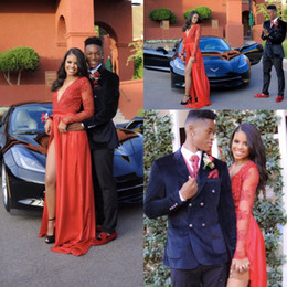 $enCountryForm.capitalKeyWord NZ - 2017 Sexy Black Girls Deep V Neck Red Prom Dresses A Line Long Sleeves High Split Evening Gown Appliques Beaded Formal Party Dress