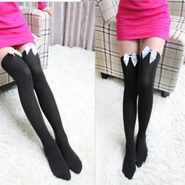 Gros Rubans En Vrac Pas Cher-Vente en gros- Collant dur bowknot Stocking Femmes Attractive Sexy Midings Pantyhose Tattoo Mock Bow Sheer Tights