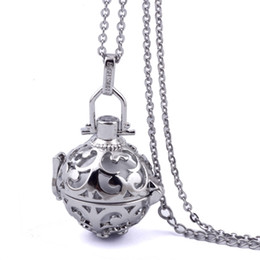 Pregnancy Chime Pendant Australia - Wholesale-316L Stainless Stee Chain Cage Angel Ball Necklace 7 Colors Ball Metal Pregnancy Ball in Pendants Baby Chime Necklace