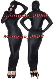 Sexy Black Lycra Spandex Body Bags Suit Catsuit Costumi Unisex Costumi Cosplay Outfit Con Occhi Aperti / Bocca Costume Cosplay Halloween M076