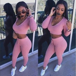 Barato Calças Curtas De Mulher Quente-Hot Sale Slim Hooded Two Piece Sets Hooded Collar Crop Top Short Sweatshirt e cordão Leggings Sexy Hollow Out Womens Tracksuits