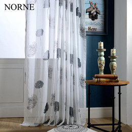 living curtains NZ - NORNE Modern Tulle Window Curtains For Living Room The Bedroom The Kitchen Cortina(Rideaux) lotus Leaves Print Sheer Curtains Blinds Drapes