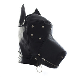 Colliers En Cuir Laash Bondage Pas Cher-Fetish Leather SM Hood Dog Mask Head Harness Sex Slave Collar Leash Mouth Gag BDSM Bondage Blindfold Sex Toys Pour Couple Au Reve