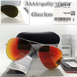 Glasses Sun Protection Australia - Top quality Glass lens Polit Fashion Sunglasses UV Protection Men Women Brand Designer Vintage Sport Sun glasses With box