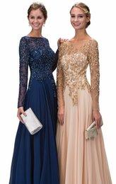 $enCountryForm.capitalKeyWord Australia - Best Handmade A Line Jewel Long Sleeve Chiffon Evening Dresses Keyhole Back Long Prom Dresses With Crystal Beaded 2017