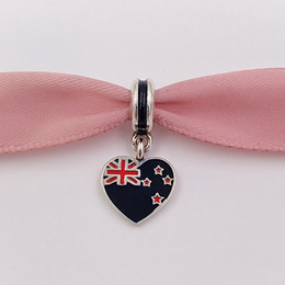 New style for bracelets online shopping - 925 Silver Beads New Zealand Heart Flag Hanging Charm Fits European Pandora Style Bracelets Necklace for jewelry making ENMX