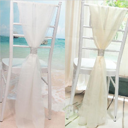 wholesale wedding chairs UK - Wholesale White Slub Chair Sashes with Rows Diamond Chiffon Delicate Wedding Party Banquet Decorations Chair Covers Accessories