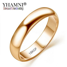 Ring lost online shopping - YHAMNI Lose Money Promotion Real Pure Gold Rings For Women and Men With KGP Stamp mm Top Quality Rose Gold Ring Jewelry JZR050
