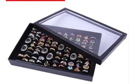 $enCountryForm.capitalKeyWord Canada - 100 Slot Jewelry Display Box High Quality With A Lid Black Velvet Earring Stud Bangle Ring Storage Case Hot Sell 5sr J R