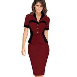 Wholesale women s optical illusion dress for sale – plus size Lcw New Fashion Women Elegant Career Optical Illusion Contrast Faux Twinset Wear to Work Office Business Casual Fitted Sheath Dress