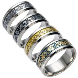 $enCountryForm.capitalKeyWord Canada - Men's Stainless Steel Ring - 4 Style Dragon Pattern Carving Rings Fit For Mens Womens Cool Simple Band (USA Size 6-13)