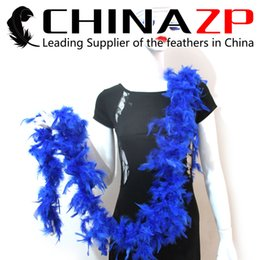 Boa Feathers NZ - Gold Supplier CHINAZP Crafts Factory 2yards lot 40G Dyed Royal Blue Chandelle Feather Boas for Party Dresses