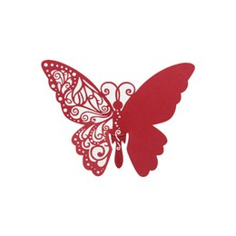 Chinese  New Laser Cut Butterfly Paper Place Cards Wine Glasses Cup Paper Card for Wedding Marriage Escort Card Home Table Decor manufacturers