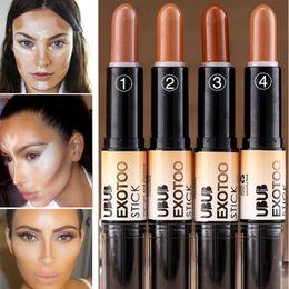 $enCountryForm.capitalKeyWord Canada - Wholesale- Branded Makeup High Quality Double Ended Color Corrector Concealer Dark Skin Bronzer Highlighter Glow Stick Contouring Makeup