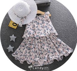 Chapeau De Soleil De Style Princesse Pas Cher-Falbala Hemline Dress Kids Princess Dresses Beach 2017 Ensemble de vêtements pour fille nouvel été Girl Floral Sundress and Sun Hat