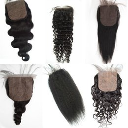 Hidden knots closure online shopping - Mongolian Virgin Hair Straight Silk Base Closure Hidden Knots Brazilian Peruvian Human Hair Free Part Cheap Silk Closure FDSHINE HAIR