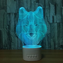 China Wolf 3D Illusion Lamp 3D LED Light Bluetooth Speaker with 5 RGB Lights TF Card Slot DC 5V USB Charging Wholesale Dropshipping cheap speaker diy suppliers