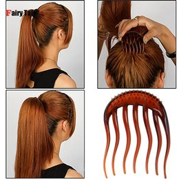 Discount hair insert comb - Wholesale- 2Pcs Colors Inserts Hair Clips Princess Bumpits Bouffant Ponytail Hair Combs Hairpin hairband hair style tool