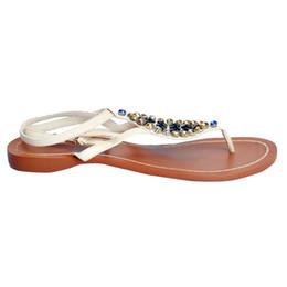 a50d8c8f4a7420 Zandina Women s Handmade PU Leather Flat Gladiator Sandals Pearl Beach  Wedding Strappy Flats Shoes White XD219