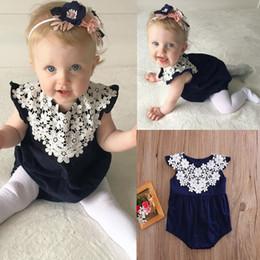 649635709b8 2018 Summer Fashion Infant Kids Baby Girls Jumpsuit Bodysuit Outfits Sunsuit  White Lace cotton Dark Blue Romper Infant Clothes 0-24Months