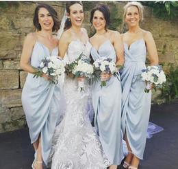 Discount silk satin sheath wedding dresses - Elegant Sweetheart Spaghetti Straps Sheath Bridesmaid Dresses 2017 Ankle Length Sexy Maid Of Honor Gowns Cheap Wedding G