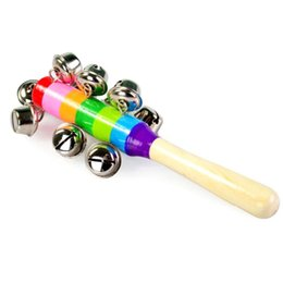 $enCountryForm.capitalKeyWord Australia - Wooden Stick 10 Jingle Bells Rainbow Hand Shake Bell Rattles Baby Kids Children Educational Toy - Random Delivery