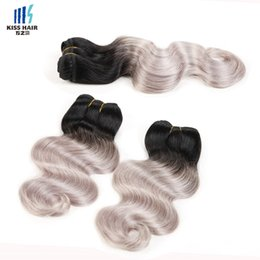 Chinese  4 Bundles Two Tone Ombre Human Hair Weave Bundles Brazilian Body Wave Green Blue Grey Red Pink Purple Colored Brazilian Hair Extensions manufacturers