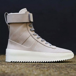 online shopping 2016 FEAR OF GOD Military High Top Sneakers Black Suede Gum Grey Nubuck Boot Fog Jerry Lorenzo Kanye black Nylon running shoes