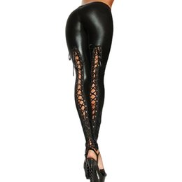 Barato Calças De Couro Molhadas Para Mulheres-Atacado- Punk Leggings Mulheres Sexy Like Lace Black Faux Leather Gótico Wet Look Clubwear Latex Legging Pants 99 -MX8