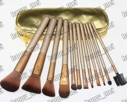 Wholesale Factory Direct DHL New Makeup Tools Accessories Makeup Brushes Pieces Brush With Gold leather Pouch