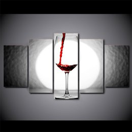 $enCountryForm.capitalKeyWord UK - 5 Pcs Set Framed HD Printed Wine Glass Light Home Wall Decor Poster Canvas Art Painting Wall Pictures Modular Painting